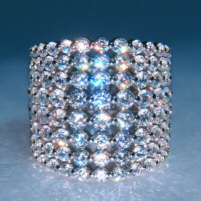 5Ct 100% Natural Diamond 14K White Gold Cluster Ring EFFECT 10Ct RWG210