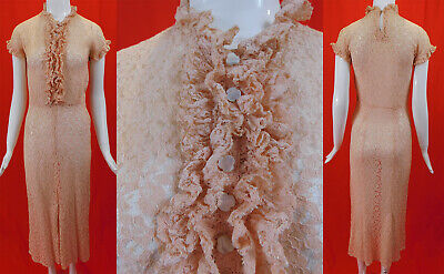 Vintage 1930s Sheer Pink Lace Ruffle Jabot Button Trim Pencil Skirt Day Dress