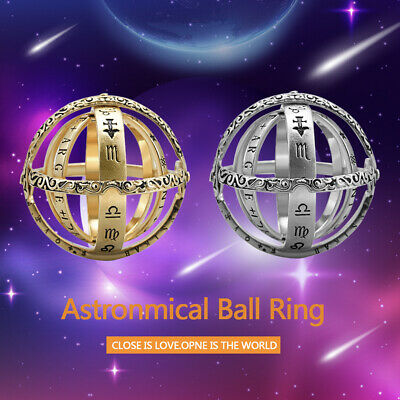 Armillary Ring Women Men Unfolds Into Astronomical Sphere Stainless Steel Ring