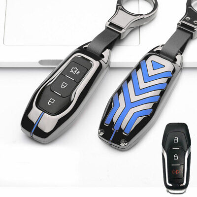 Gun Gray Metal Remote Key Fob Cover Case Shell Holder For Ford Lincoln Smart Key