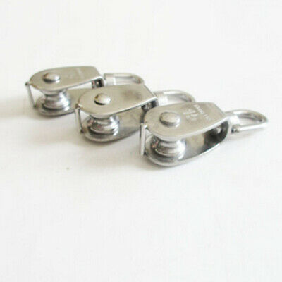 1PC Stainless Steel Single Wheel Swivel Pulley Block Lifting Rope Pulley New