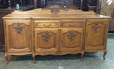 Antique French Country Sideboard Server Buffet Cabinet Cupboard Oak Louis XV
