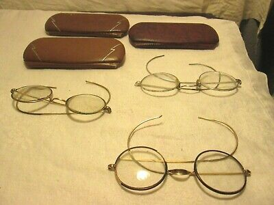 Antique/Vintage Lot of 3 Wire Rim Eyeglasses w Cases Gold Filled Round Lens