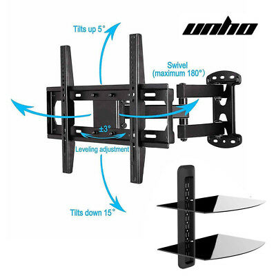 "UNHO TV Bracket Wall Mount fr 26-55"" With 2 Tiers DVD Holer Floating Glass Shelf"