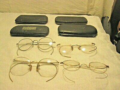 Antique/Vintage Lot of 4 Wire Rim Eyeglasses w Cases Gold Filled FOR PARTS OR RE