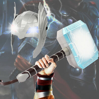 LED Glowing And Sounds Hammer LED Mask For Thor Action Figures Kids Cosplay
