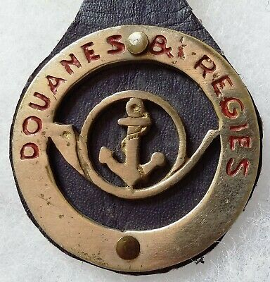 Insigne 1940 DOUANES ET REGIES d'Indochine ORIGINAL sur son cuir French Customs