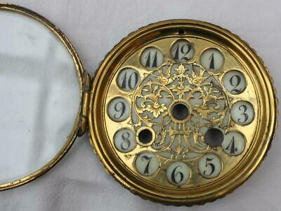 "Antique Enamel Clock Dial Brass Fretwork Pair Birds Opening Glass Front 4"" Diam."