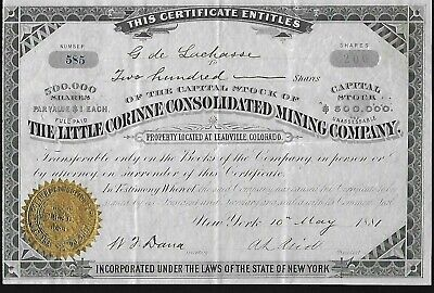 LITTLE CORINNE CONSOLIDATED MINING CO Stock 1881. Leadville, CO. Silver & Gold