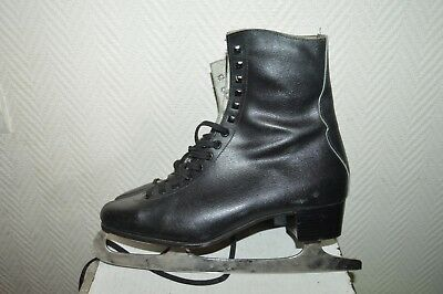 PATIN A GLACE PATINAGE NAO by ALVIERA LEATHER  ICE SKATE TAILLE 42 CUIR VINTAGE