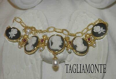 TAGLIAMONTE(1129)Column Necklace*YGP925*5 Black+White Porcelain Cameo+Ruby+Pearl