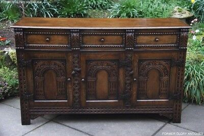 Solid Carved Oak Dresser Base Sideboard Hall Server Table Stand Cabinet Cupboard