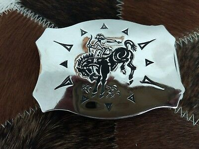 Vintage Chambers Belt Co. Buckle Cowboy and Bucking Bronco USA