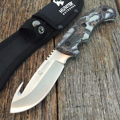 "9"" Camo HUNTING SURVIVAL FIXED BLADE Tactical Knife Full Tang GUT HOOK GC s"