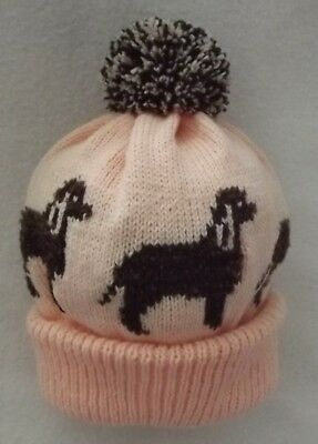IRISH WATER SPANIEL dog design on NEW knitted ADULT SIZE POMPOM BOBBLE hat