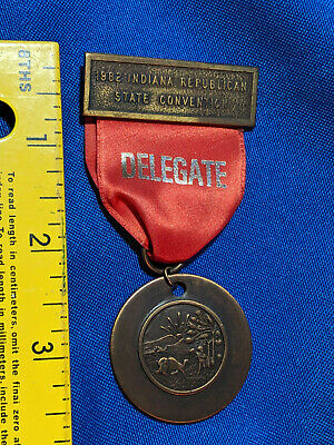 1982 Indiana Republican State Convention Delegate Ribbon Pin Badge VTG State