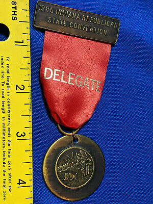 1986 Indiana Republican State Convention Delegate Ribbon Pin Badge VTG State