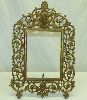Antique Victorian Cast Iron Easel Picture Frame Cherub Face Scrolls Ornate Brass