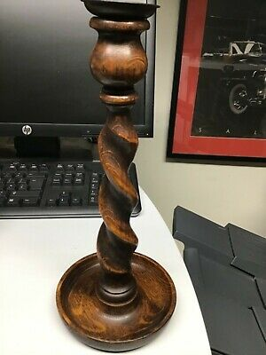 Antique Dark Wooden Ornate Barley Twist Candlestick 11.75 in tall 5in at base