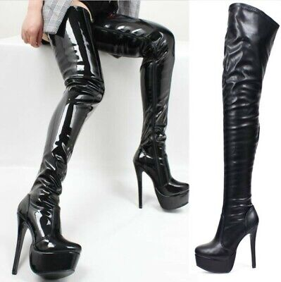 Platform High Stiletto Heels Womens Over the Knee Boots Pleated Patent Leather