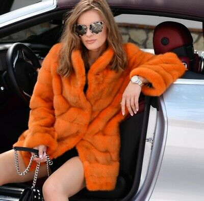 New Orange Real Mink Fur Coat Class Sable Chinchilla Long Jacket Trench Lynx Fox