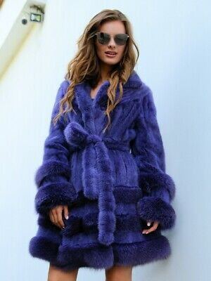 New Real Violet Mink Fox Fur Coat Class Sable Chinchilla Vest Long Jacket Trench