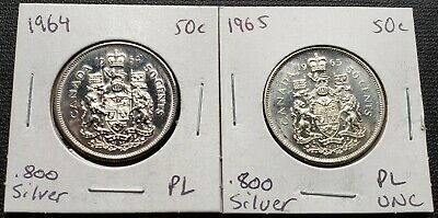 1964 & 1965 Canada Silver 50 Cent Half Dollars - Mint Condition Proof Like