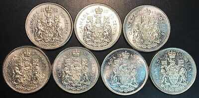 Lot of 7x Canada 80% Silver 50 Cent Half Dollars - Dates: 1959 to 1966