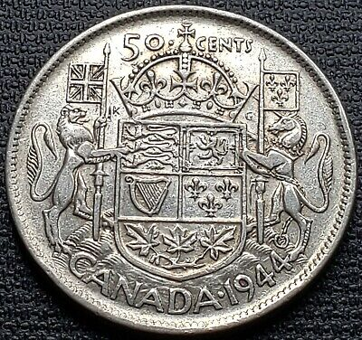 1944 Canada 80% Silver 50 Cent Half Dollar - Far 4 Variety - Great Condition