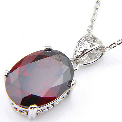 Attractive Party Gift Fire Red Garnet Gemstone Platinum Plated Necklace Pendants