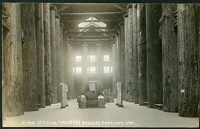 PORTLAND OREGON FORESTRY BUILDING INTERIOR circa 1910 RPPC Photo Postcard