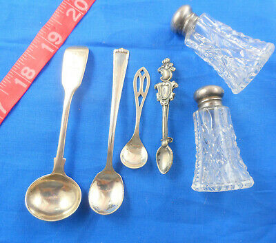Antique Sterling Silver Salt Spoon Lot of 4, Plus Two Shakers , Free US Shipping