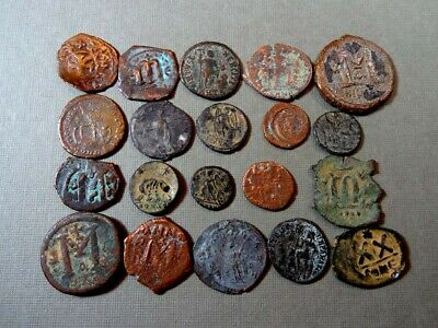 20 Ancient Coins Bronze Byzantine 400-700 Ad