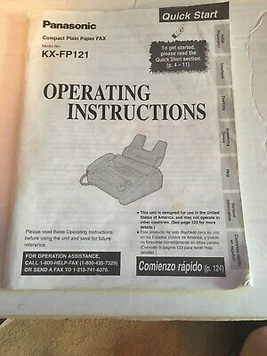 Panasonic FAX KX FP121 Operating Instructions Manual Book Only