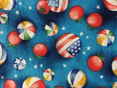 Balls - Tomatoes Cotton Novelty Fabric 2 Yards X 22 Inches