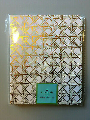 NEW Kate Spade NY Spiral Notebook/Journal Gold Caning Design