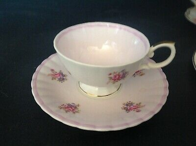 Susie  Cooper Bone China England Cup & Saucer Multicolor Flowers On Pink Ribbed