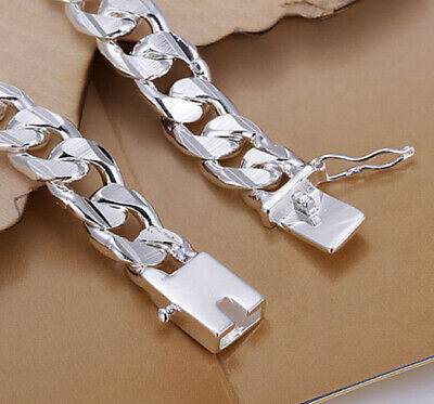 Men 10MM 925 Silver Plating Chain Charm Bracelet Bangle Jewelry Men Women Gift