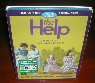 The Help (Blu-ray/DVD, 2011, 3-Disc Set, Includes Digital Copy) New