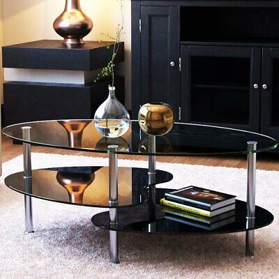 Ryan Rove Orion - Oval Two Tier Glass Coffee Table - Coffee Tables For Living Ro