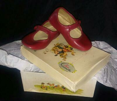 VINTAGE GAZZELLA  Italian Red Leather MARY JANE Toddlers SHOES in Original BOX