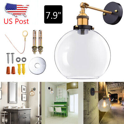 """Vintage Industrial 7.9"""" Ball Shape Glass Light Wall Sconce Home Art Lamp US"""