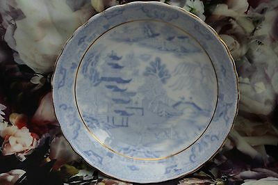 Pseudo chinese mark Porcelain Saucer Blue & White Two Temples II Broseley c 1800