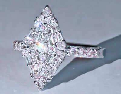 1.1Ct 100% Natural Diamond 14K White Gold Cluster Ring EFFECT 2.5Ct RWG89