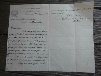 1888 Solicitors to solicitors in Melbourne letterhead 500 pounds lease Hotel