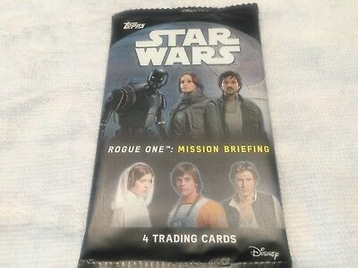 """L@@K Topps Star Wars """"Rogue One: Mission Briefing"""" Factory Sealed Packet"""