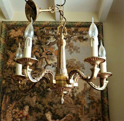 Vintage 1940s Gilt Brass Chandelier Ceiling Light French Rococo 5 lamp Rewired