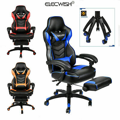 ELECWISH Gaming Chair Ergonomic Recliner Footrest Armrest Race Car style Office