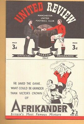 Manchester United v Grimsby Town 1946/47 PROGRAMME  First Postwar POSTFREE to UK