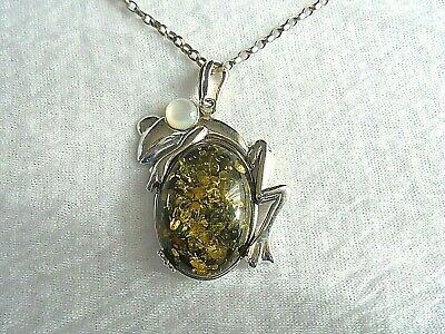 925 Silver Necklace With Gielo Baltic Amber Set In 925 Silver Frog Pendant